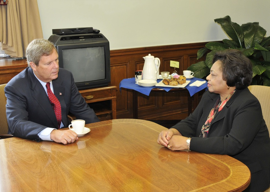 Agriculture Secretary Tom Vilsack meets with Shirley Sherrod in his office at the U.S. Department of Agriculture in Washington, DC in 2010. USDA Photo by Bob Nichols