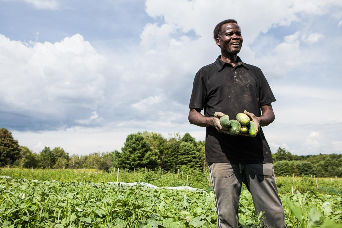 John Yanga holding cucurbits in the field