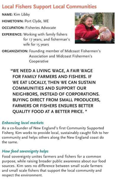 Kim pictured in the Food Sovereignty brochure doing what she loved: passing out shares of shrimp to the first ever group of CSF shareholders. Click to read the full document.