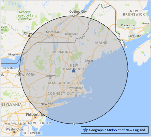 map, with geographic midpoint of New England